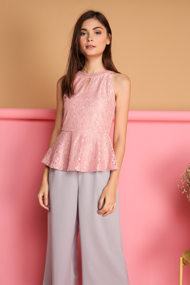 Micaela Keyhole Lace Peplum Top in Dusty Pink