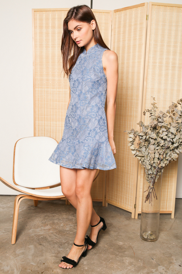 Freida Cheongsam Lace Dropwaist Dress in Blue