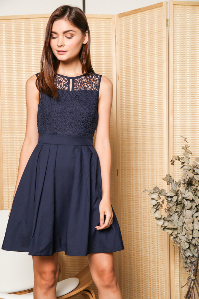 Carla Crochet Pleated Flare Dress in Navy (XS)