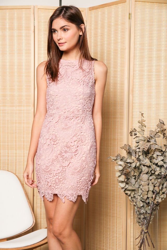 Edwina Crochet Dress in Pink