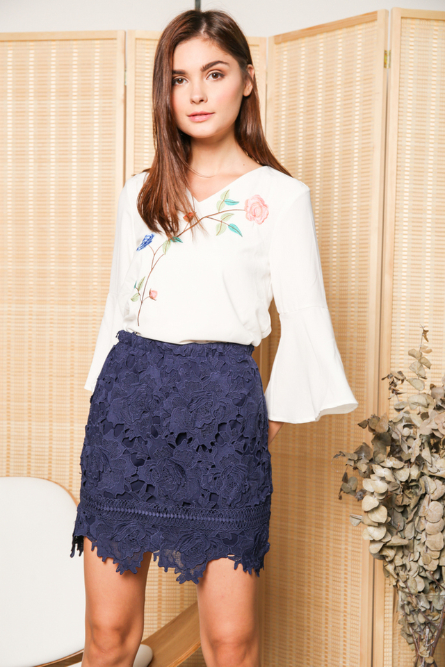 Karin Rose Crochet Skirt in Navy