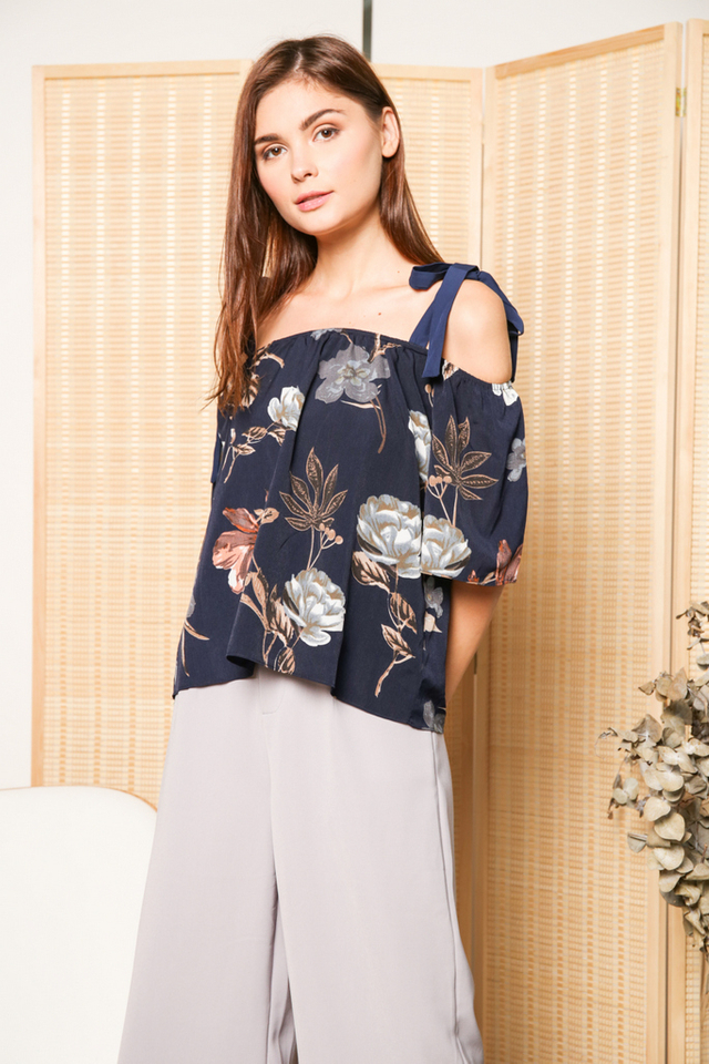 Kelly Tie Ribbon Cold Shoulder Top in Navy