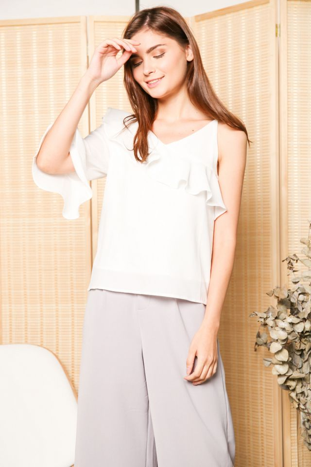 Keline One Shoulder Ruffle Sleeve Top in White