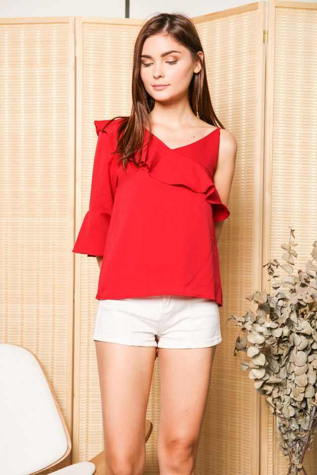 Keline One Shoulder Ruffle Sleeve Top in Red