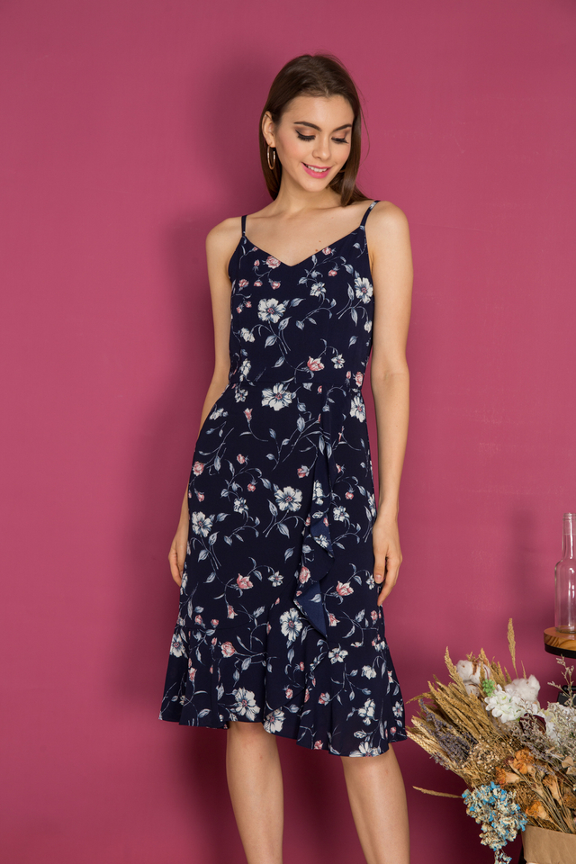 Penny Side Ruffle Midi Dress in Navy