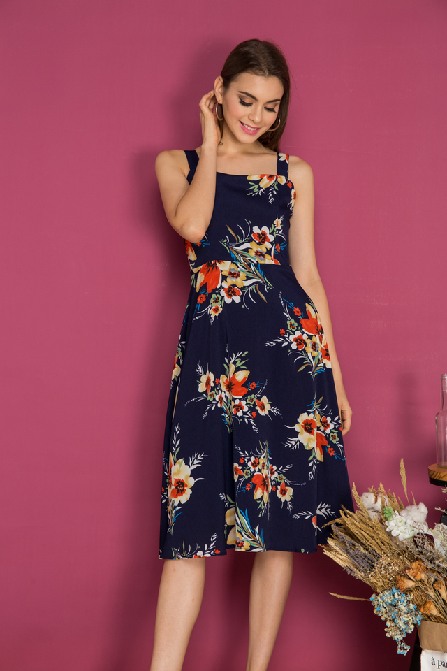 Salma Floral Midi Swing Dress in Navy