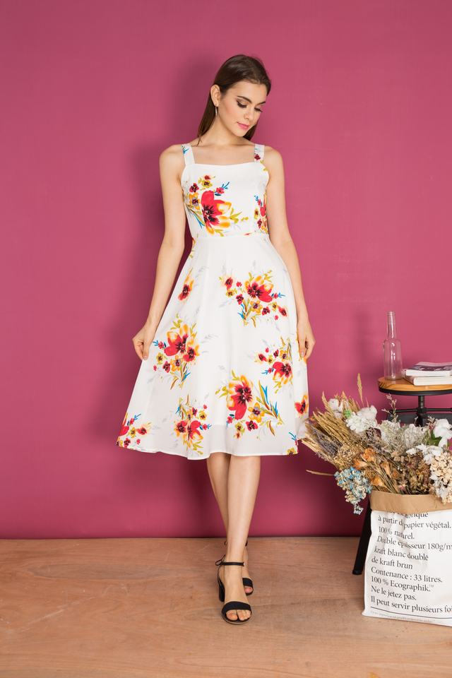 Salma Floral Midi Swing Dress in White