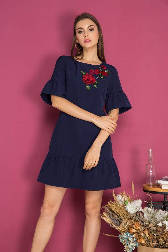 Jojo Dropwaist Rose Patch Dress in Navy