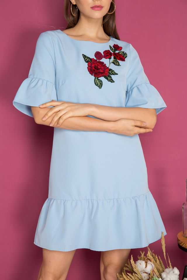 Jojo Dropwaist Rose Patch Dress in Powder Blue