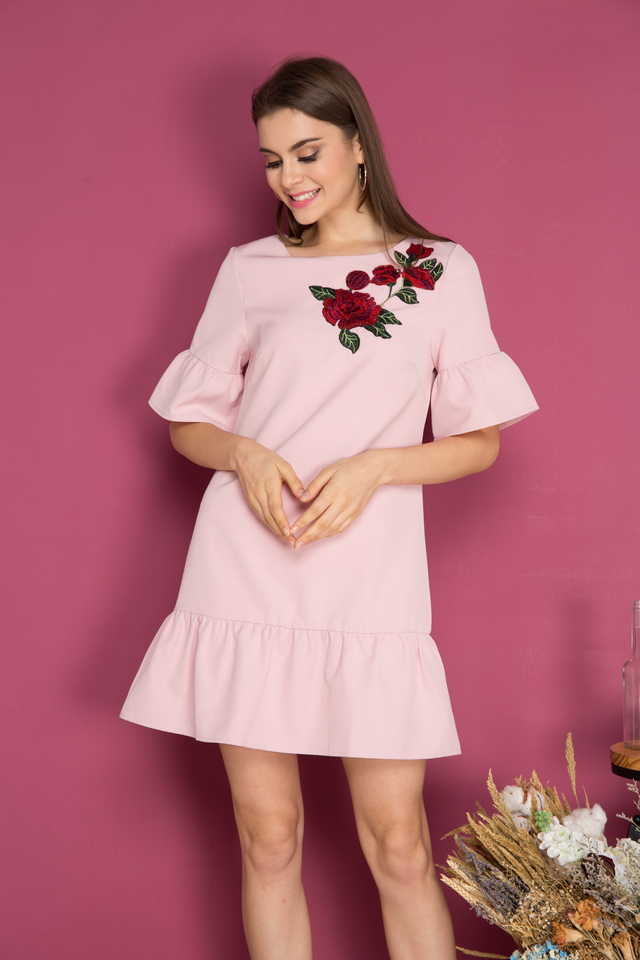 Jojo Dropwaist Rose Patch Dress in Dusty Pink