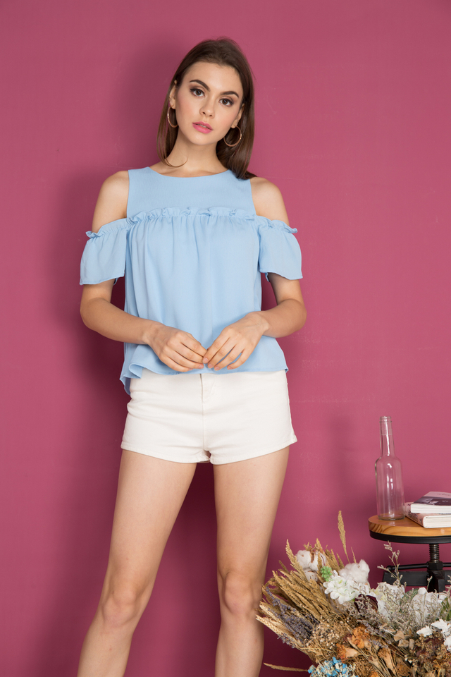 Gio Cold Shoulder Ruffle Top in Powder Blue