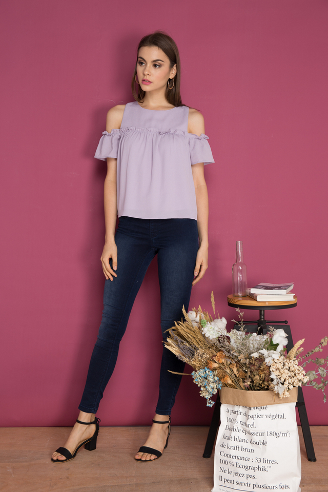 Gio Cold Shoulder Ruffle Top in Lilac