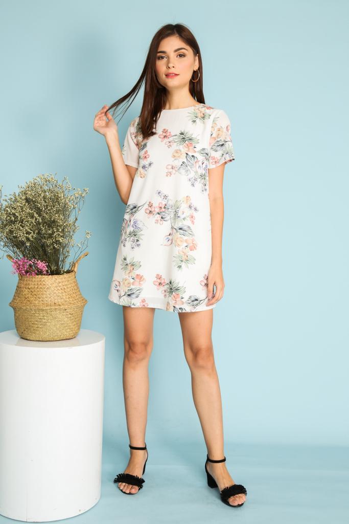 a9741fac5b Francesca Multi Floral Shift Dress in White