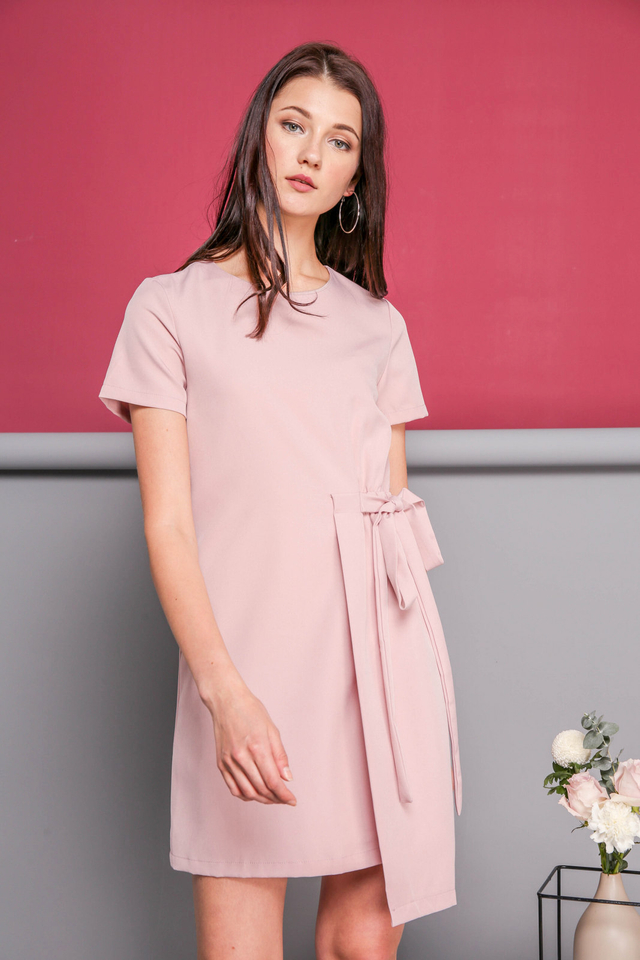 Delphine Faux Layer Dress in Dusty Pink