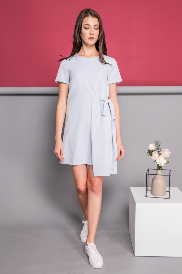 Delphine Faux Layer Dress in Powder Blue