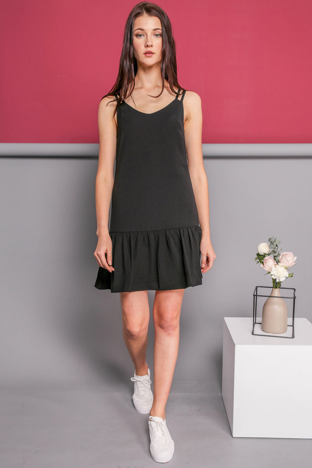 Angela Slip On Dress in Black