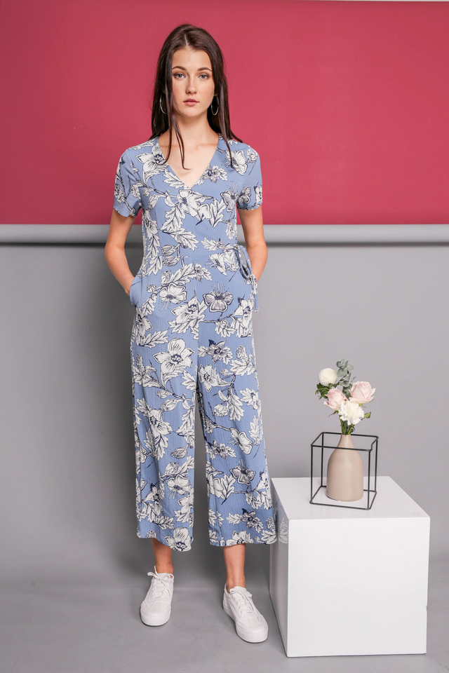 Nellie Printed Jumpsuit in Light Blue