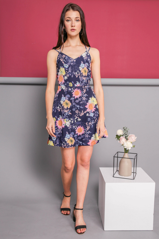 Eveleen Cross Back Floral Dress in Navy