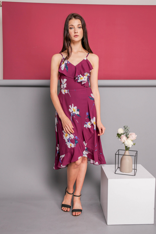 Teresa Ruffled Midi Dress in Deep Purple
