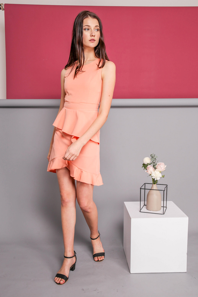 Michelle Ruffle Dress in Peach