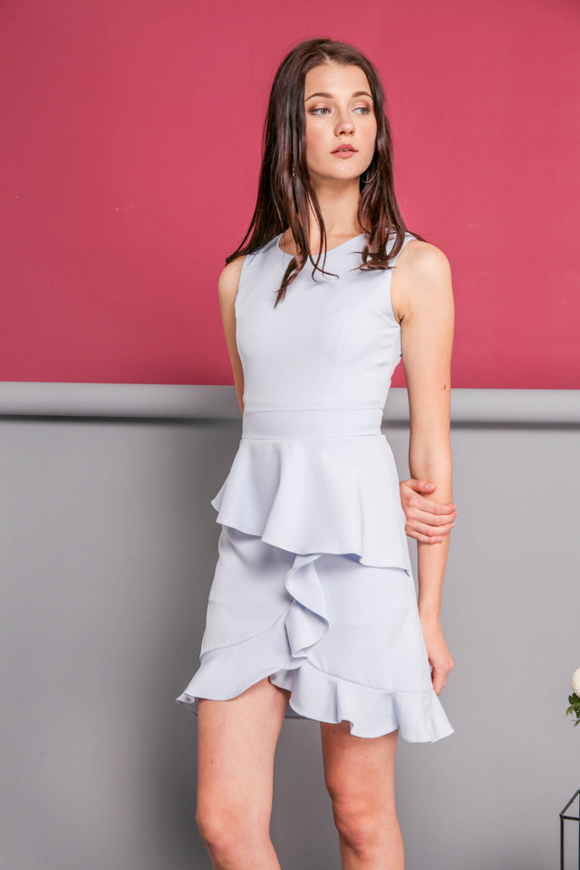 Michelle Ruffle Dress in Powder Blue