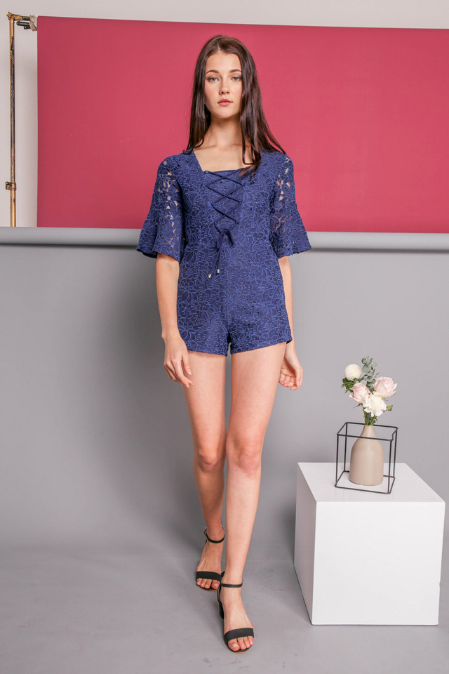 Pearlyn Lace Up Romper in Navy Blue