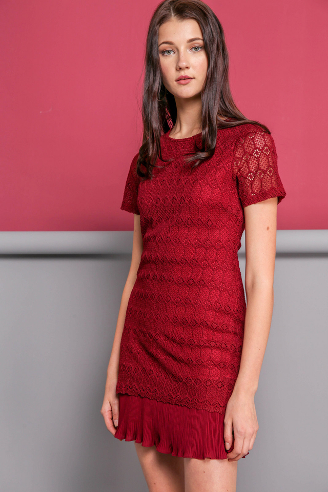 Jaslin Crochet Pleated Dress in Wine Red