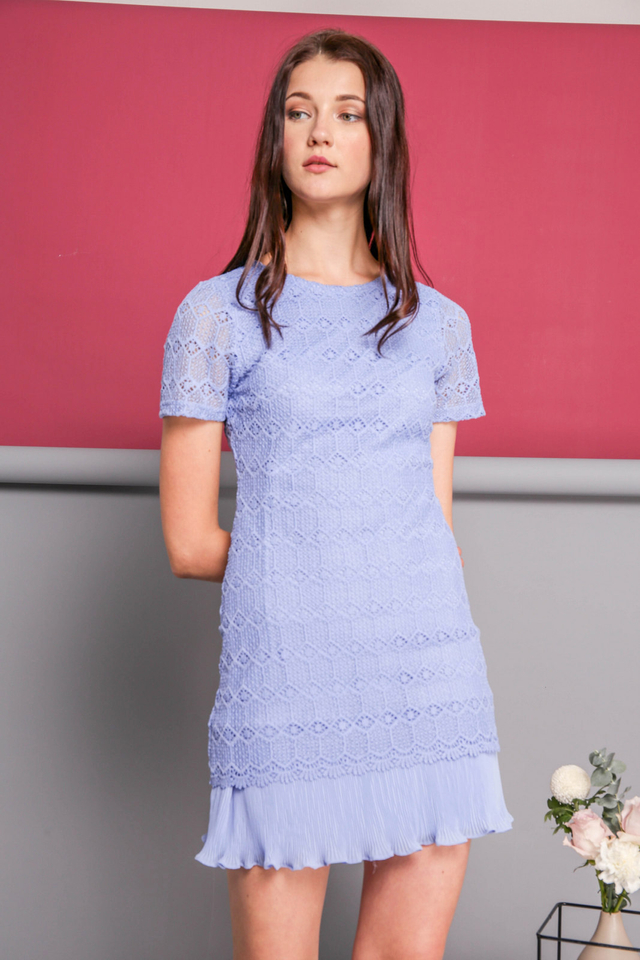 Jaslin Crochet Pleated Dress in Periwinkle