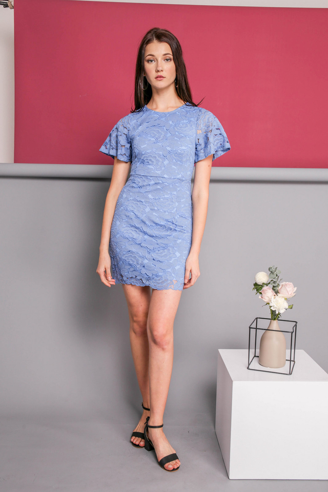 Judy Lace Dress in Blue