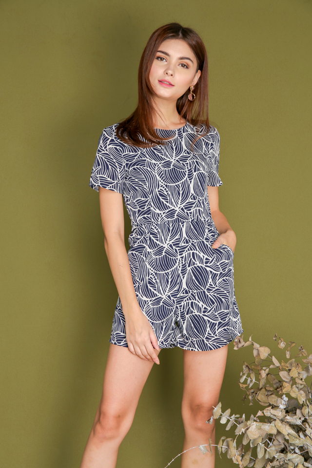 Blanche Leaf Lines Romper in Navy