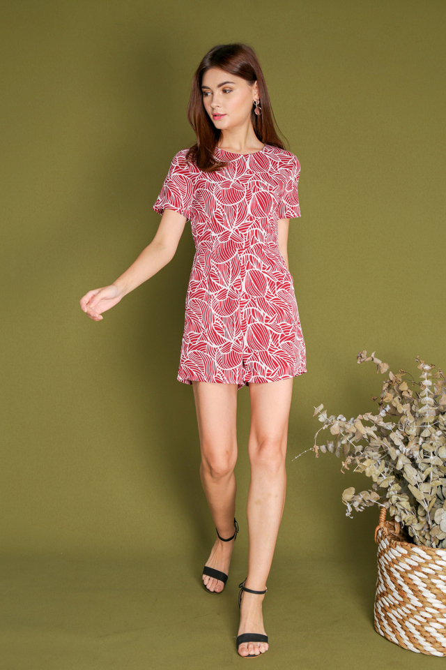 Blanche Leaf Lines Romper in Red