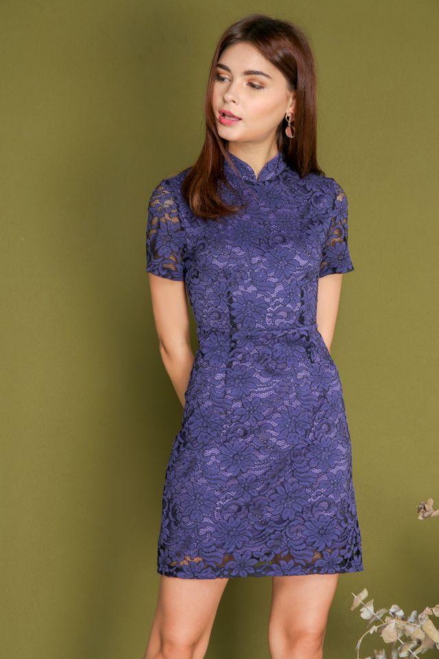 Erika Lace Sleeve Cheongsam Dress in Purple (XS)