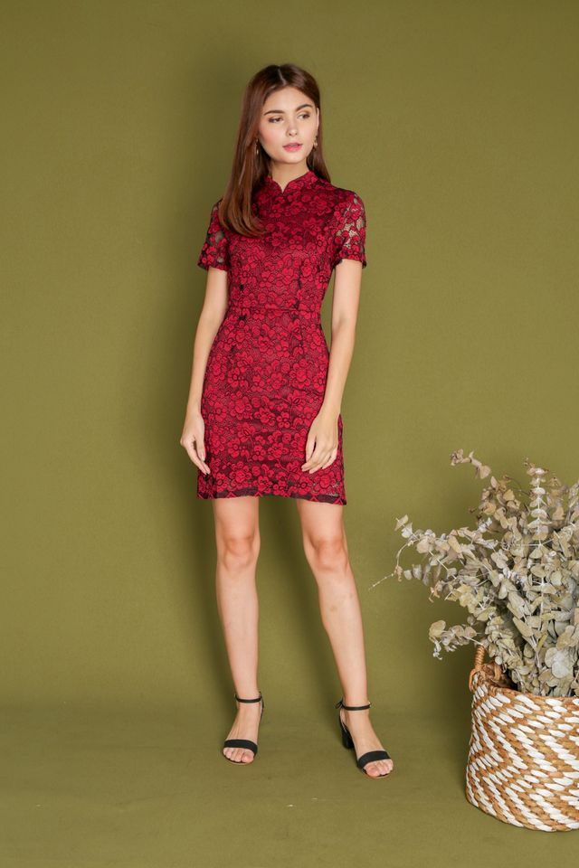 Erika Lace Sleeve Cheongsam Dress in Red (XS)