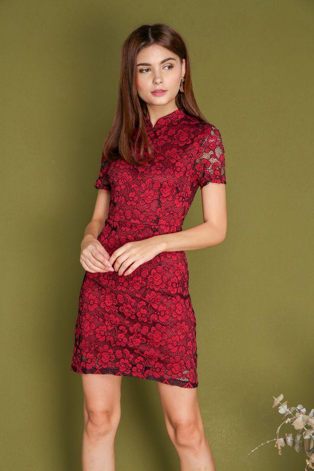Erika Lace Sleeve Cheongsam Dress in Red