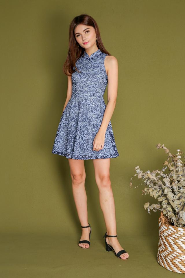 Estra Cheongsam Eyelash Lace Dress in Light Blue