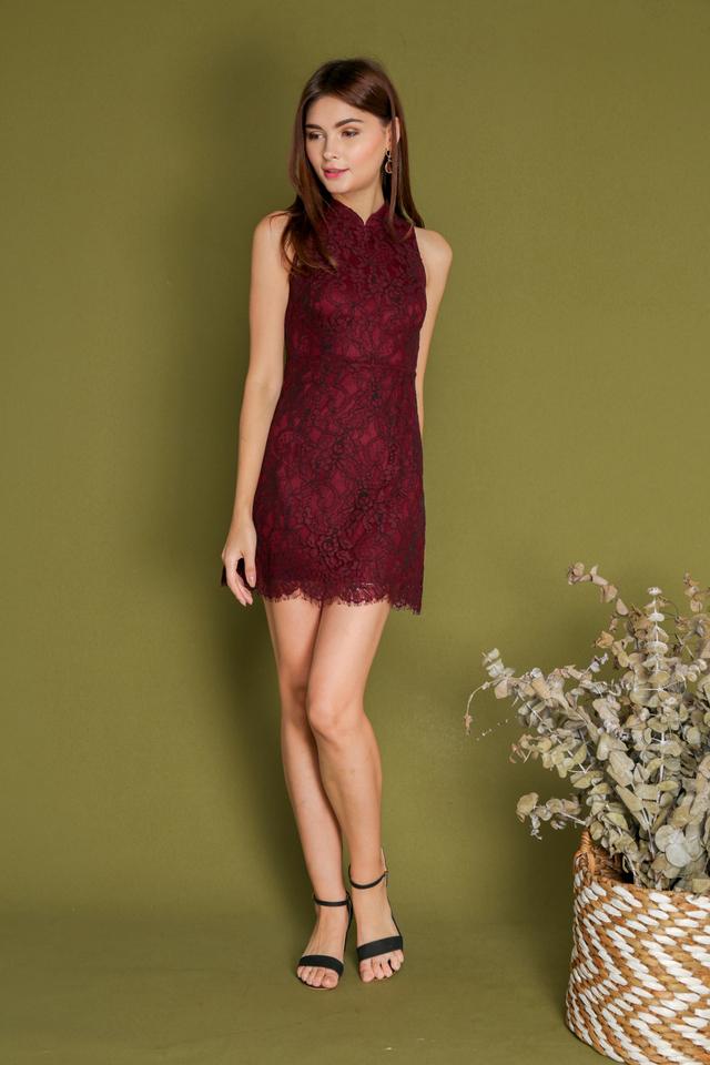 Estra Cheongsam Eyelash Lace Dress in Maroon (S)