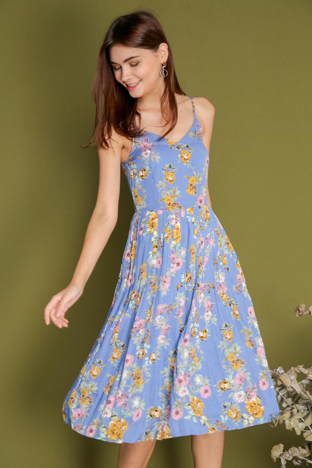Ashleey Midi Pleated Floral Dress in Periwinkle Blue