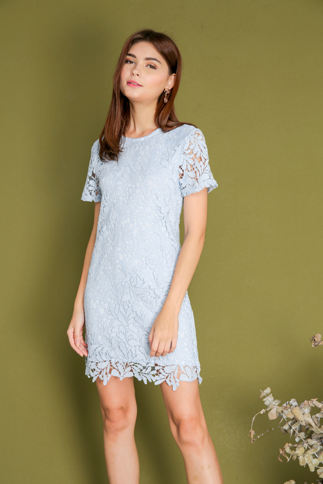 Poet Crochet Dress in Powder Blue