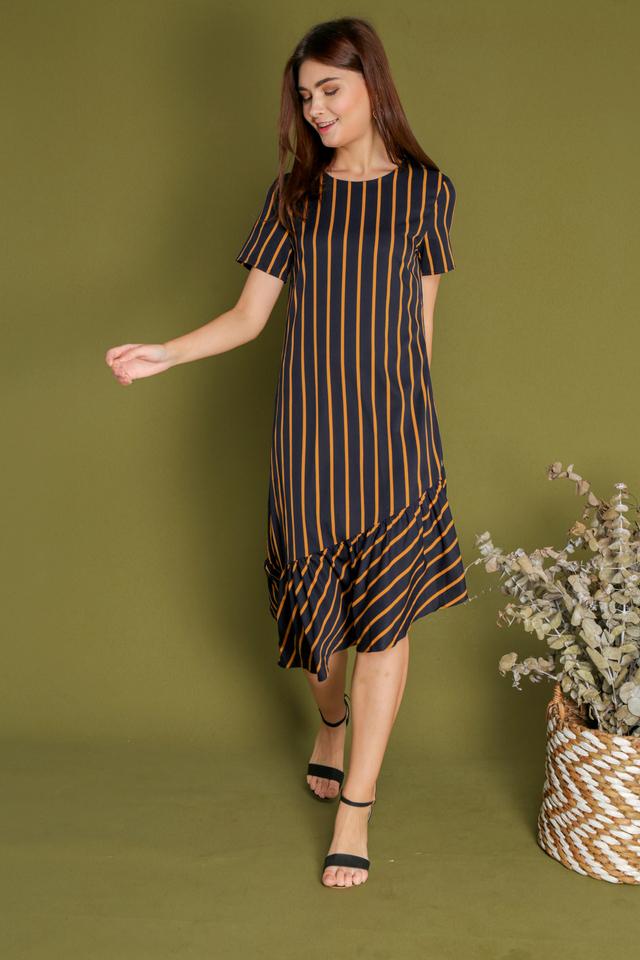 Bridget Striped Asymmetrical Dress in Mustard