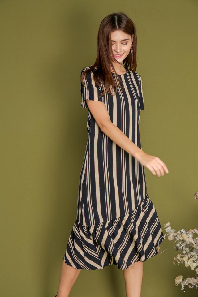 Bridget Striped Asymmetrical Dress in Cream