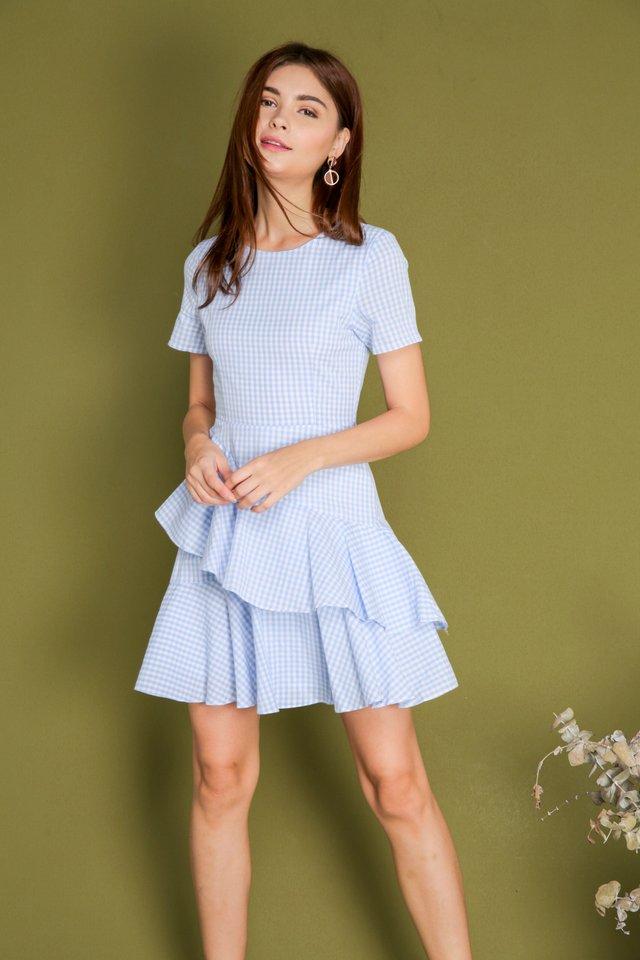 *BACKORDER* Beryl Gingham Dress in Light Blue