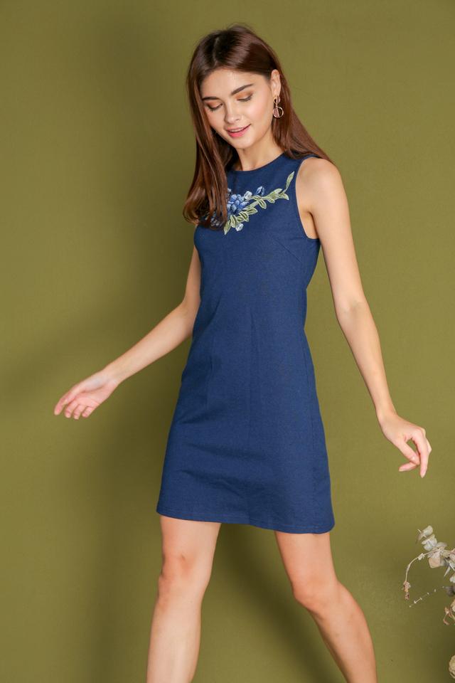 Deyean Rose Patch Denim Dress in Blue