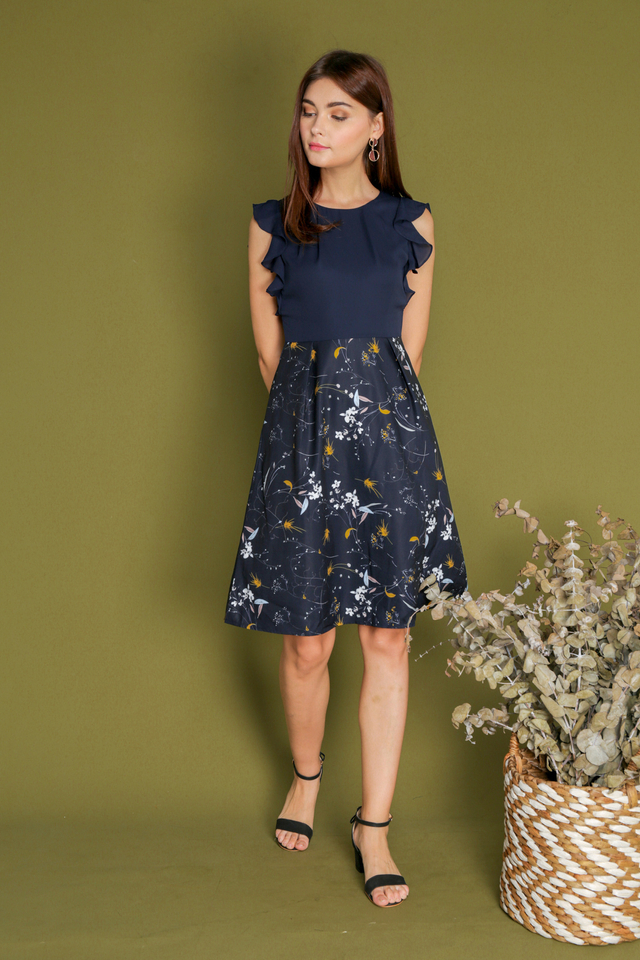 Angelica Ruffle Sleeve Printed Dress in Navy