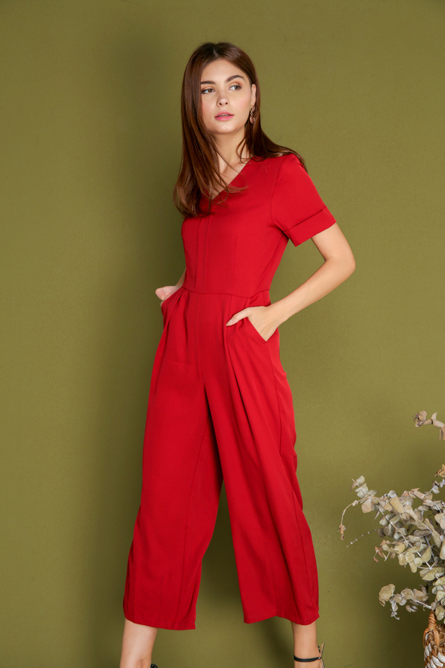 Lia Classic Jumpsuit in Wine Red