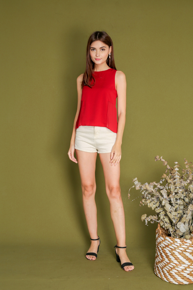 Fawn Side Pleats Top in Red