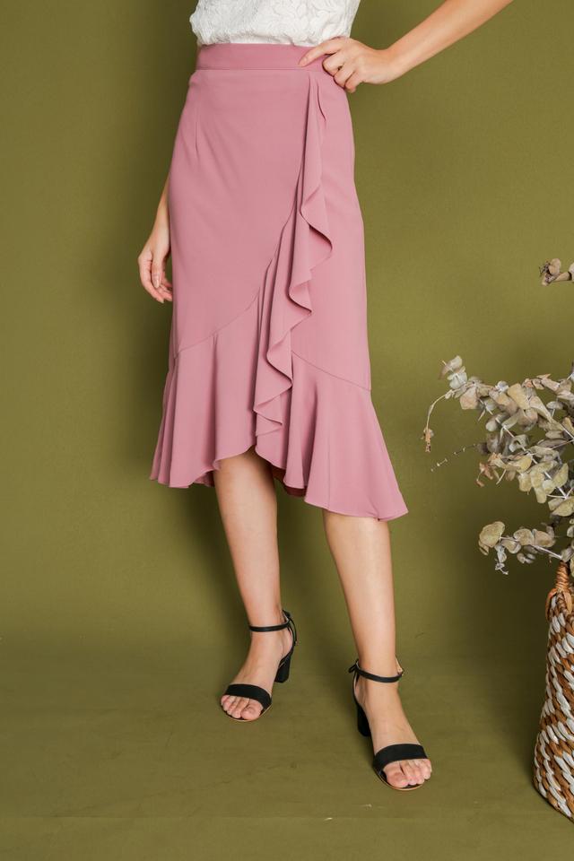 Freda Asymmetrical Ruffle Skirt in Pink