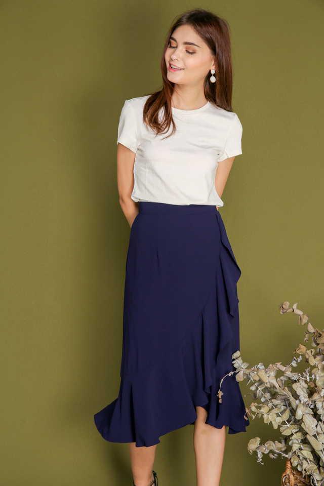 Freda Asymmetrical Ruffle Skirt in Navy