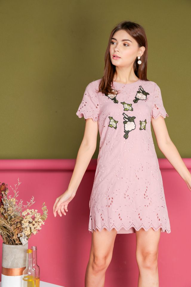 Maxine Eyelet Rose Embroidery Dress in Pink