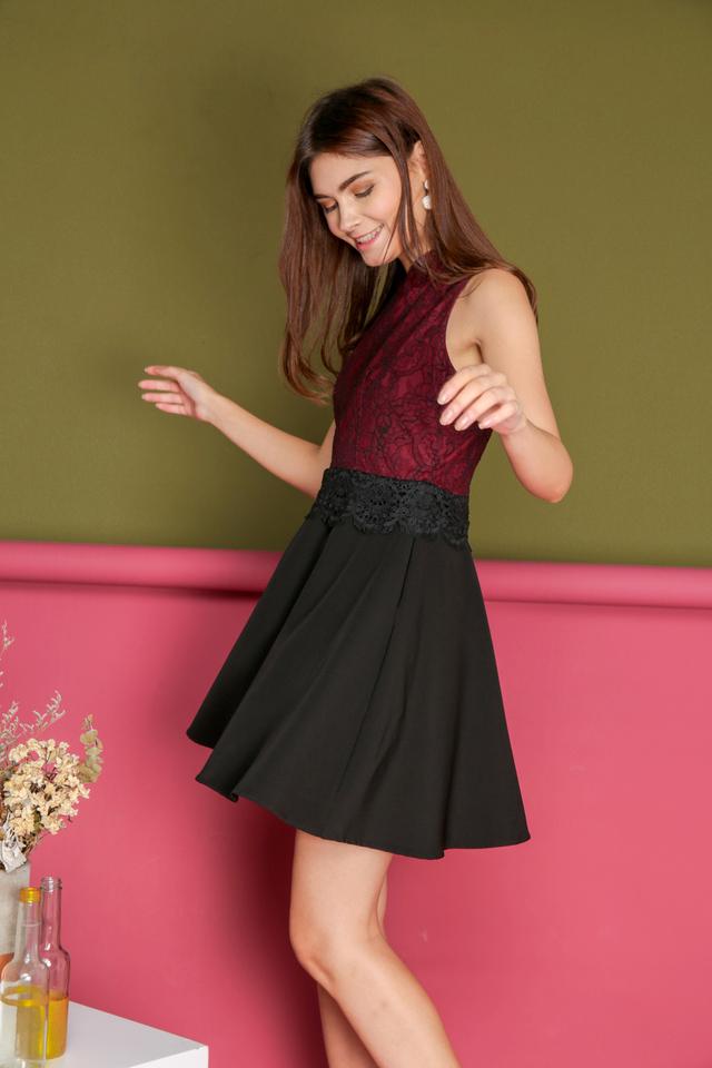 Kerri Lace Qipao Skater Dress in Maroon