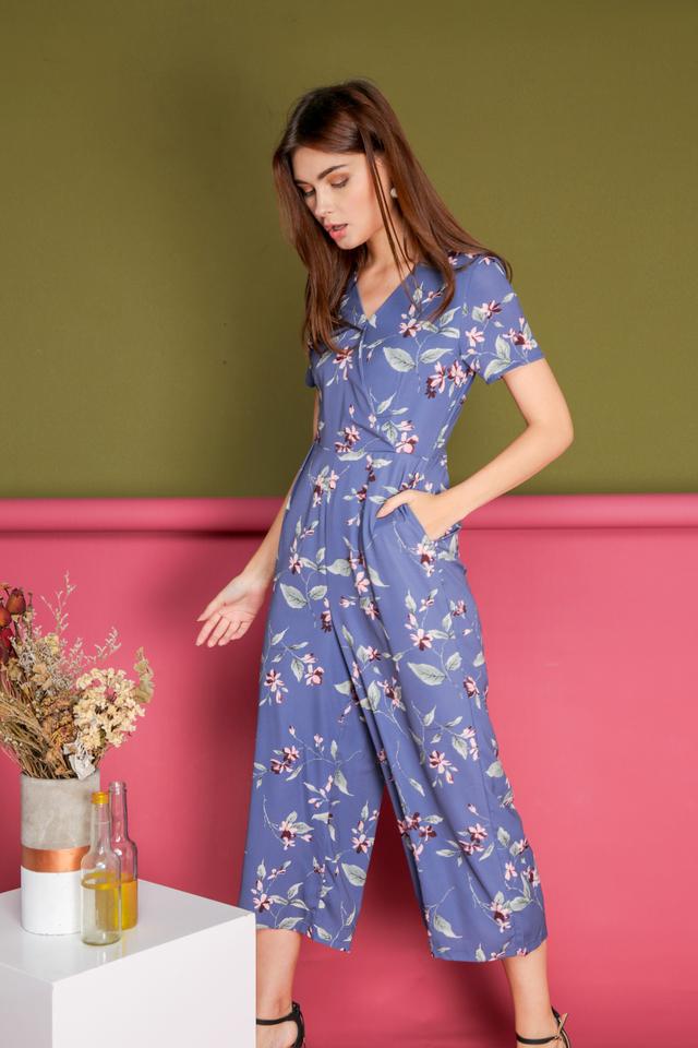 Kelsey Faux Wrap Jumpsuit in Periwinkle Blue